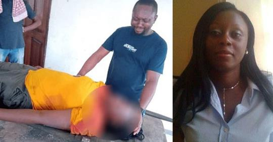 Heartbreaking Photo Of Husband Of Late INEC Staff Crying Over Her Corpse After She Was Killed During Elections In Rivers