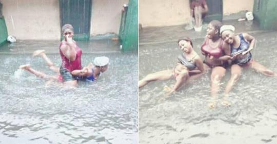 Ekiti Slay Queens Turn Flood Into Swimming Pool