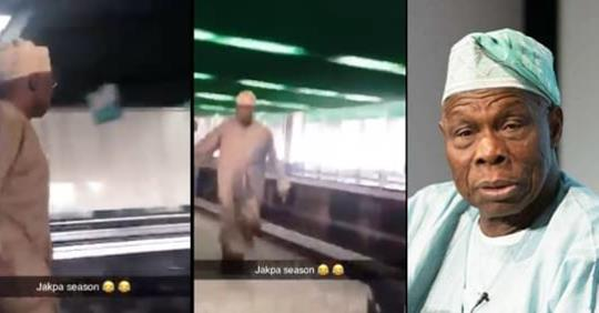 Obasanjo Reportedly Takes Off After Buhari's Victory (Video)