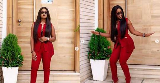 Too Classy! Cee-C Steps Out In Red Corporate Outfit (Photos)