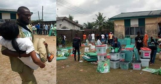 Corps Members Scamper For Safety As Thugs Invade Another Polling Unit In Rivers. (Photos)