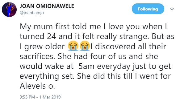 'My Mum First Told Me 'I Love You' When I Turned 24 And It Felt Really Strange' – Journalist, Joan Omionawele