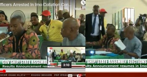 Two Collation Officers Arrested On Live TV For Altering Election Results In Imo State (Video)