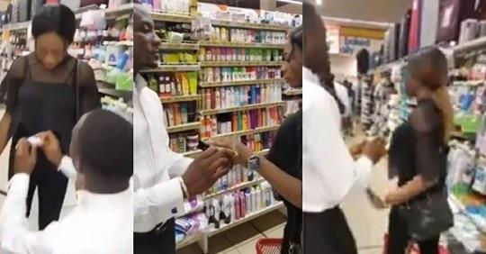 Ouch! Watch Viral Video Of A Lady Who Turned Down Her Boyfriend's Surprise Proposal At A Mall In Onitsha