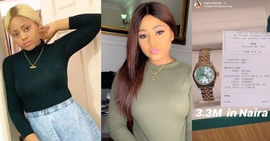 Actress Regina Daniels Shows Off Her Newly Acquired N3.3 Million Rolex Watch