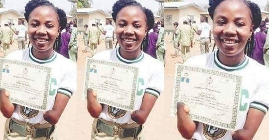 Female Corps Member Without Hands Show Off Her NYSC Discharged Certificate