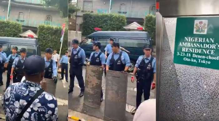 IPOB Members Storm Nigerian Ambassador's Residence With Japanese Police To 'arrest' President Buhari