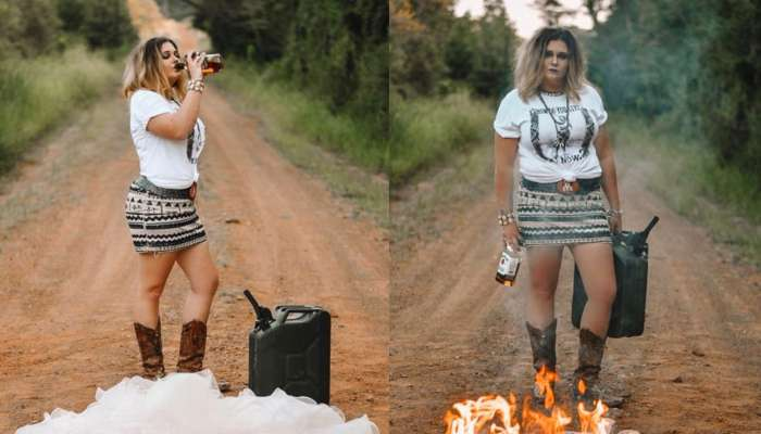 Lady Burns Her Wedding Dress As She Leaves Her Marriage In Style (photos)
