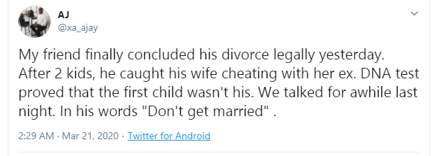 Nigerian Man Divorces His Wife After DNA Test Proved Their First Child Isn't His