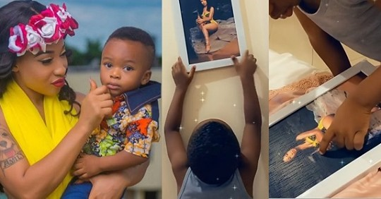 """""""You're Too Naked"""" Tonto Dikeh's Son Expresses His Disapproval Of His Mother's Bikini Photo In Adorable Video"""
