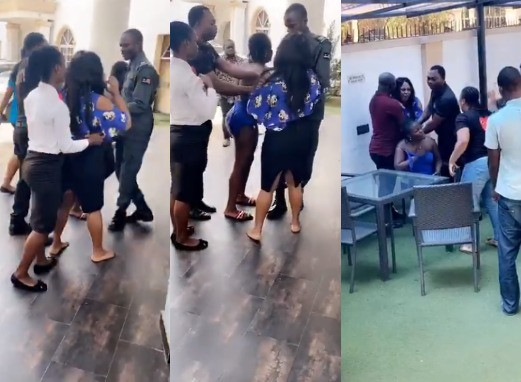 Angry Wife Confronts Her Hubby And His Side Chic At A Hotel In Benin (video)