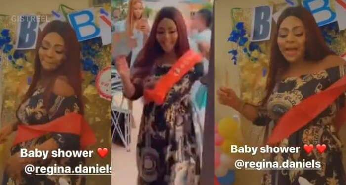 """Mama Ejima!"" – Family Member Hails Regina Daniels As She Dances During Her Baby Shower (Videos)"