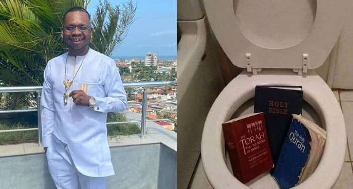 """""""This Is Where They Really Belong"""" – Ghanaian Comedian Says As He Throws Bible And Quran Inside A Toilet"""