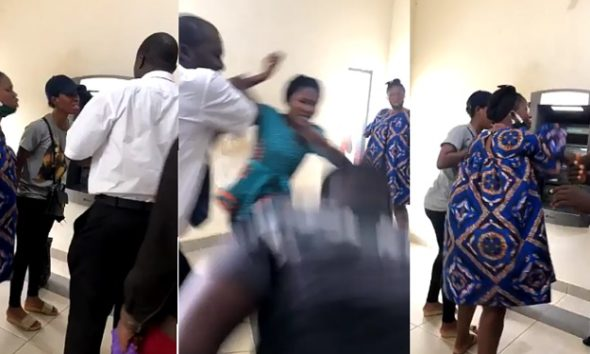 Drama As Man Slaps Lady At The Bank During Argument Over Who Came First (Video)