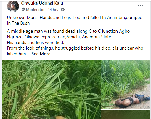 Man's Body Found In A Bush With His Legs And Hands Tied (graphic Photos)
