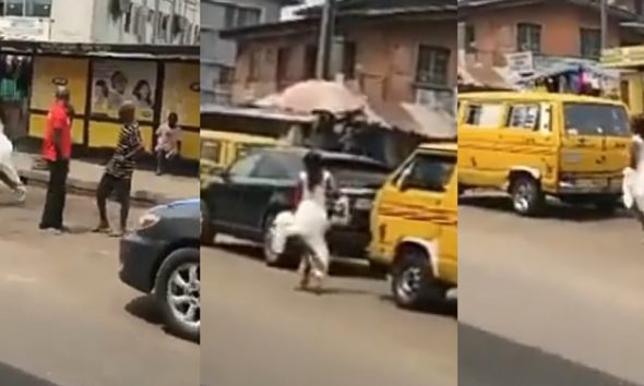 """""""I Go Talk, I Go Talk"""" – Bride On Her Wedding Gown Screams While Running Helplessly On The Road (Video)"""