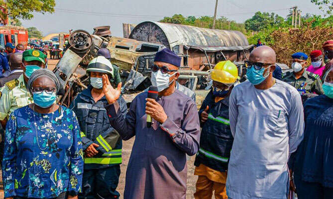 Ogun State Tanker Explosion: Governor Abiodun Bans Fuel Tankers  From Using Overhead Bridges (Photos)