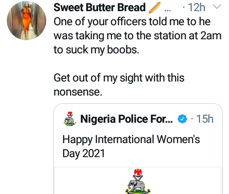 Lady Slams Nigeria Police Force Over Its IWD 2021 Message
