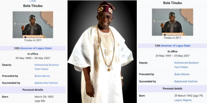 Wikipedia Reportedly Locks Bola Tinubu's Page Over Numerous Edits To His Age
